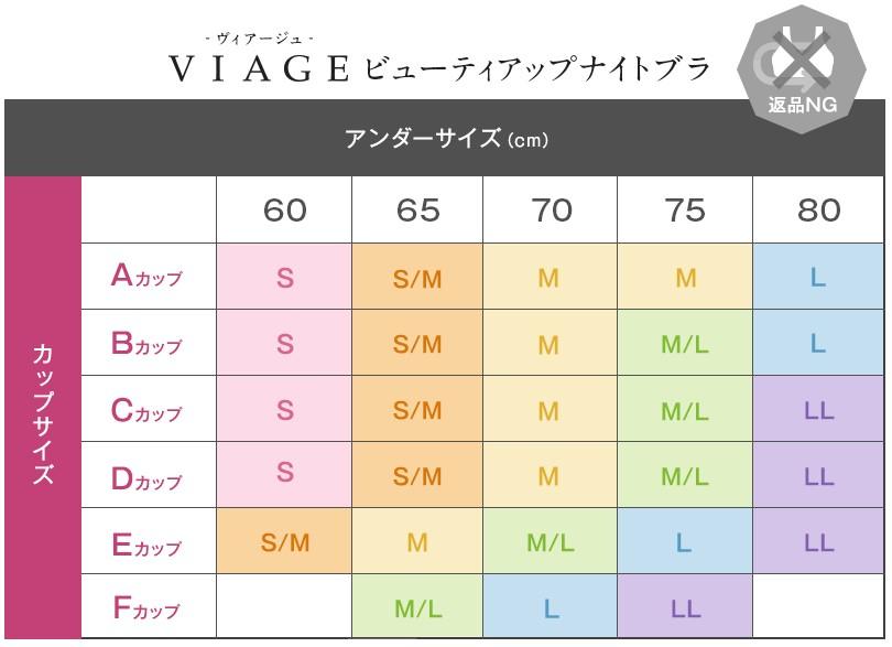 Viarge ナイトブラサイズ表
